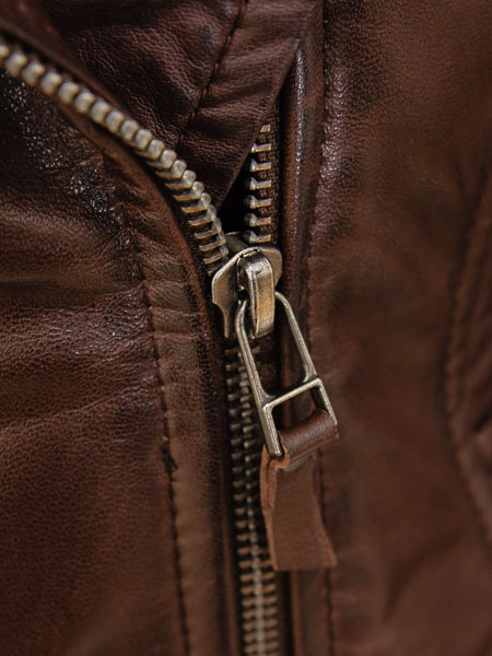 biker brown leather jacket with hood