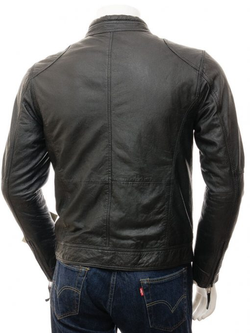 black biker jacket men slim fit