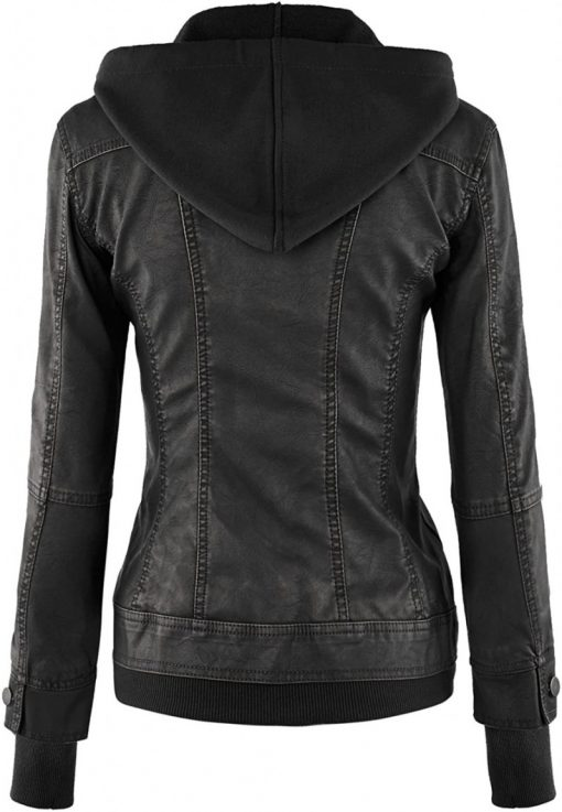 black fitted leather jacket womens