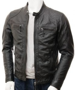 black leather moto jacket men