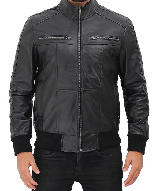 black slim fit cafe racer jacket