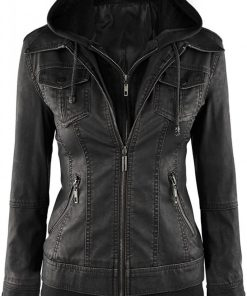 black trucker biker leather jacket with hood