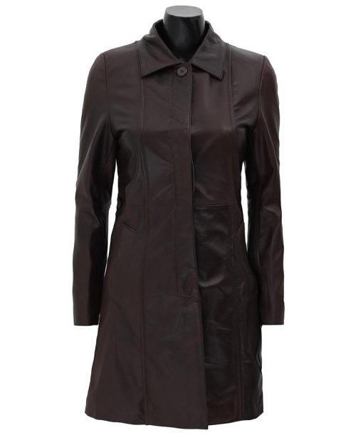 brown leather coat for women