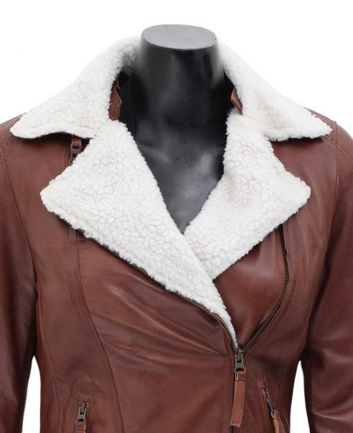 brown shearling leather jacket womens