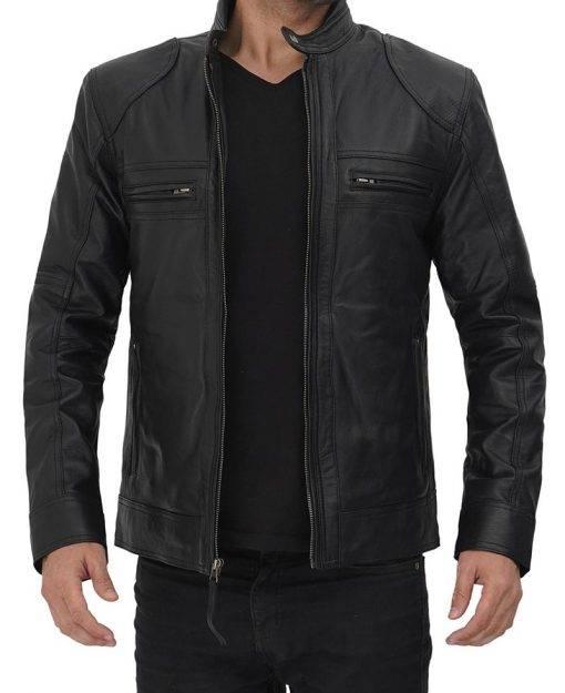 cafe racer black biker leather jacket mens