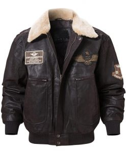 dark brown aviator jacket