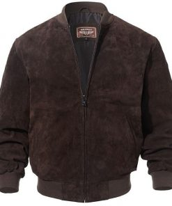 dark brown suede bomber leather jacket men