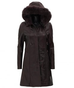 fur collar hooded leather jacket women