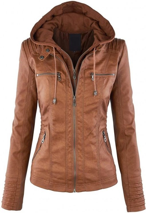 hooded brown leather fitted jacket
