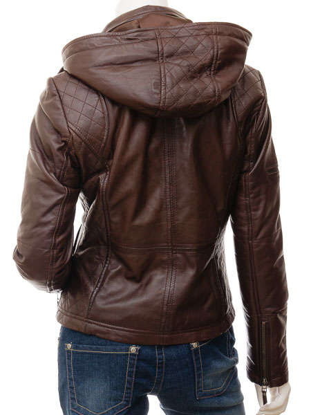 hooded jacket womens quilted brown