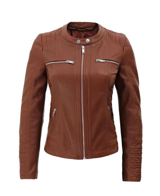 lambskin leather brown biker jacket for women