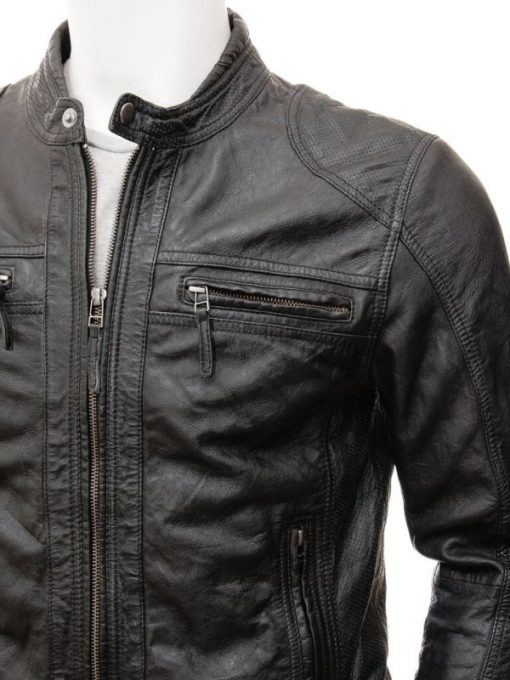 lambskin moto biker leather jacket men