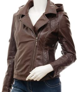 leather jacket with hood womens