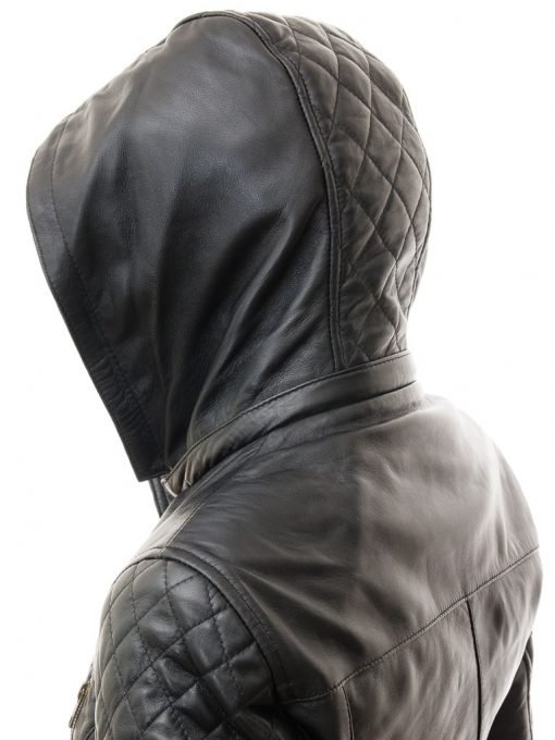 long leather jacket with hood