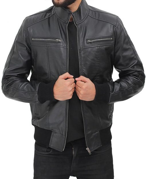 men black bomber leather jacket cafe racer