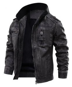 men black cafe racer distressed leather jacket