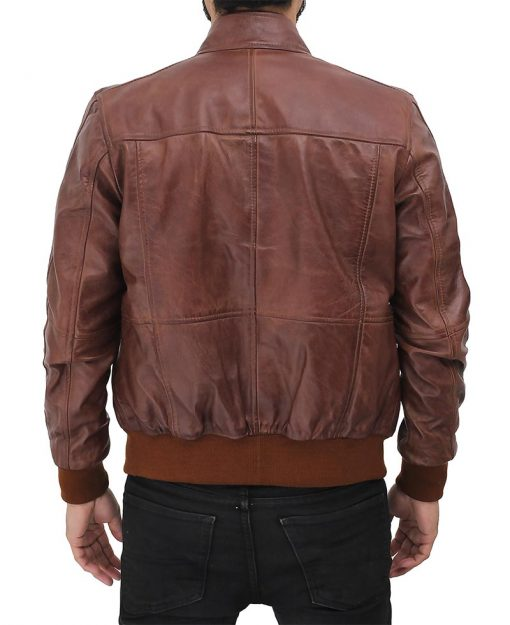 mens real leather brown leather jacket
