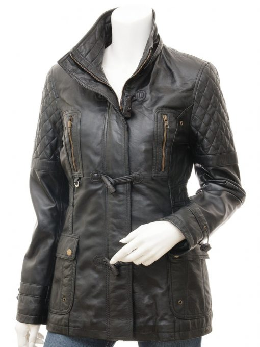 quilted leather black coat womens