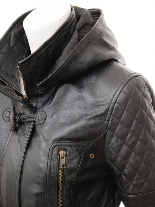 remoavable hooded leather coat