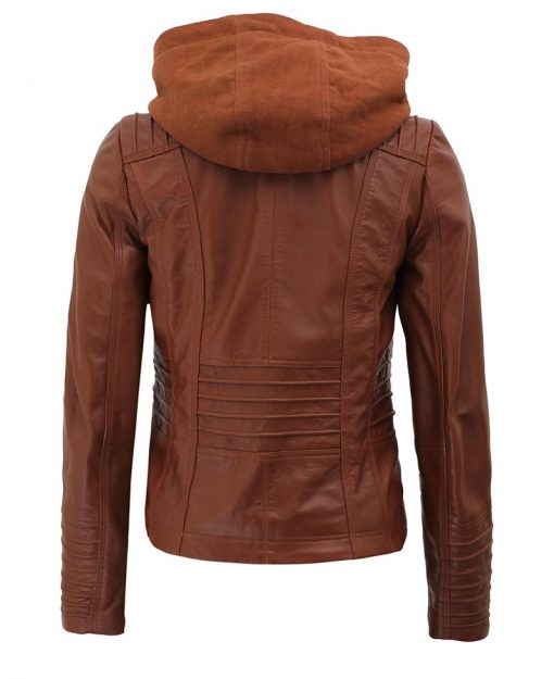 removable hood leather jacket for women