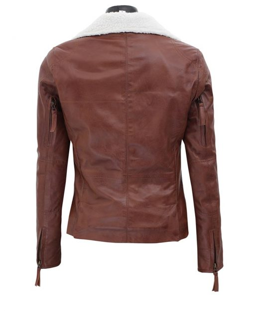 shearling moto leather jacket brown