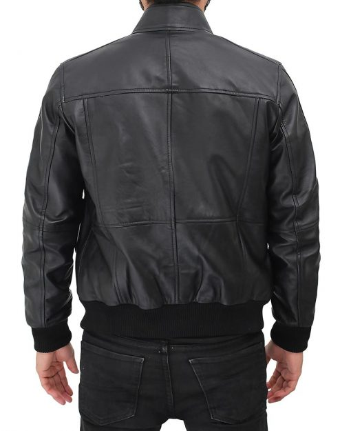 slim fit bomber leather jacket black