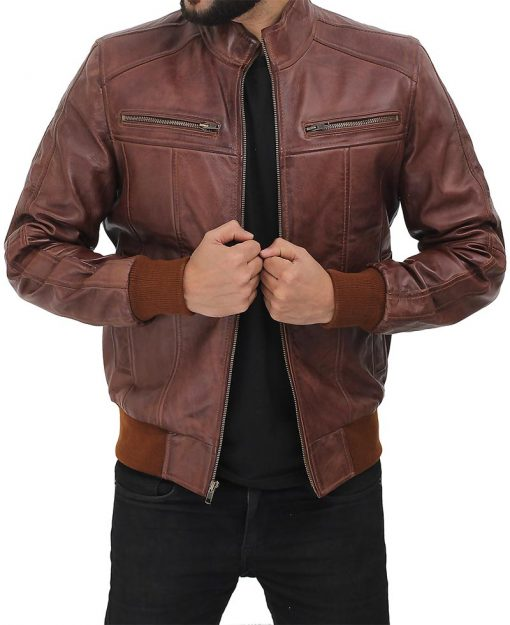 slim fit bomber leather jacket brown