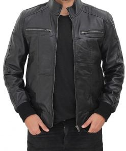 stylish men bomber leather jacket