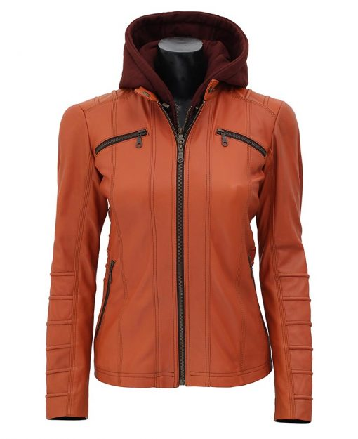 tan brown leather jacket wih removable hood