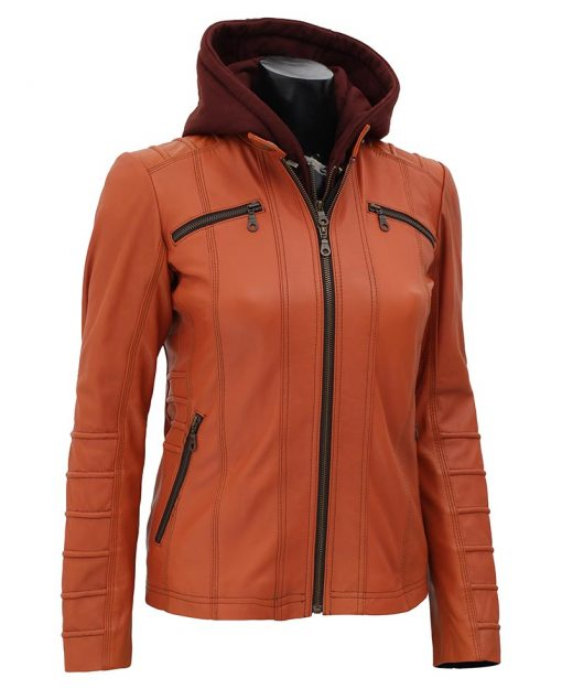 tan leather jacket with hood