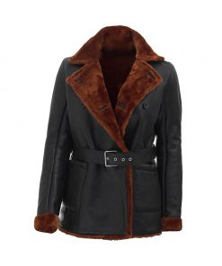 women 3 4 length winter leather coat