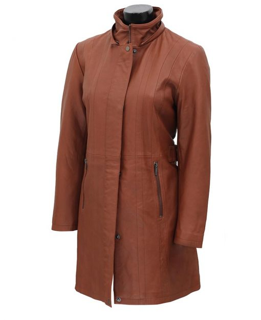 women brown leather coat 3 4 length