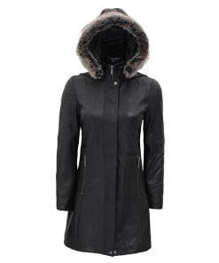 women hooded black leather coat