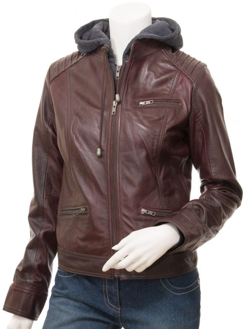 women hooded brown leather jacket