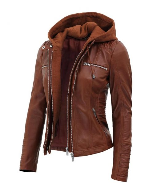 women removable hood leather jacket