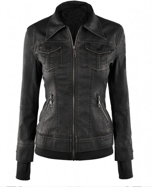 womens biker fitted jacket with hood