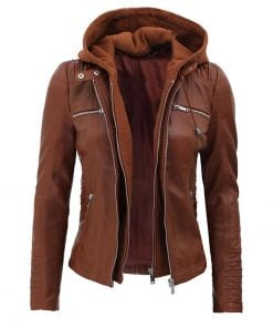 womens decorated hooded leather jacket