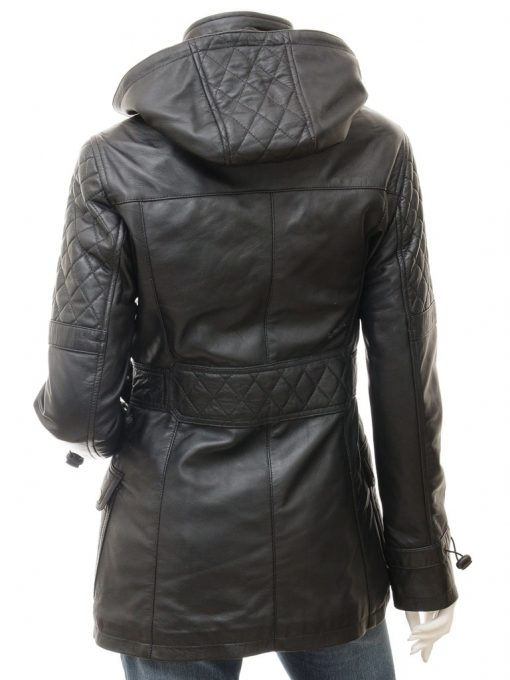 womens hooded black quilted jacket