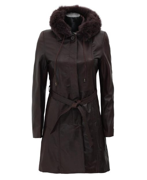 womens hooded leather coat dark brown