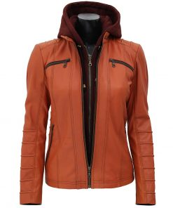 womens hooded leather jacket tan brown