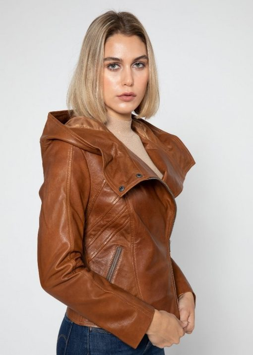 womens moto biker leather jacket with hood
