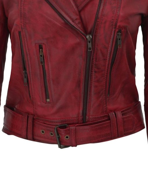 Burgundy moto leather jacket womens