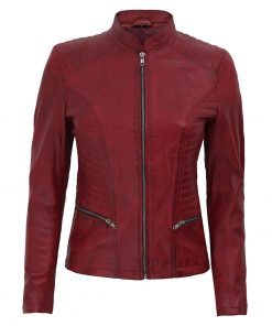 Women slim fit maroon biker leather jacket
