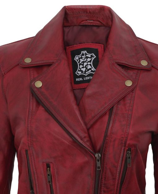 Womens Maroon leather jacket biker style