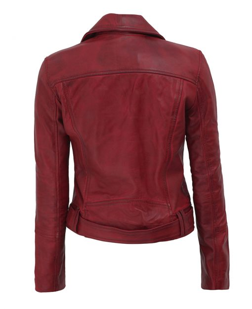 Womens moto biker maroon leather jacket