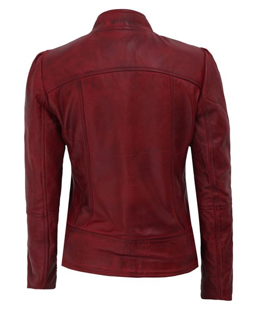 biker maroon leather jacket womens