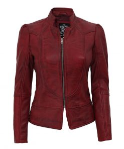 distressed maroon leather jacket womens