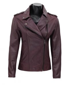 purple leather jacket women