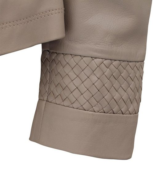 quilted leather jacket women beige