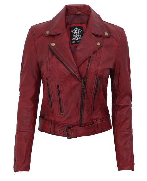 women Distressed maroon leather jacket